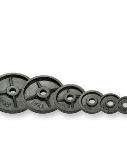 Duke Fitness lisälevy Olympic 50mm on nimensä mukaisesti 50mm laakeroituihin hauis- ja suoriin tankoihin sopivia Olympic -lisälevypainoja